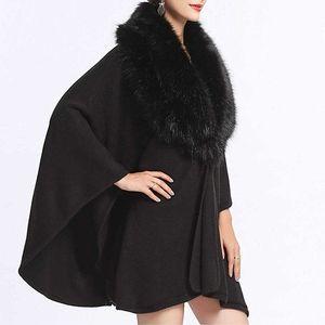 Black Winter Faux Fur Trimmed Collar Poncho